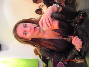 Drinking smoothie at Bagel& Juice